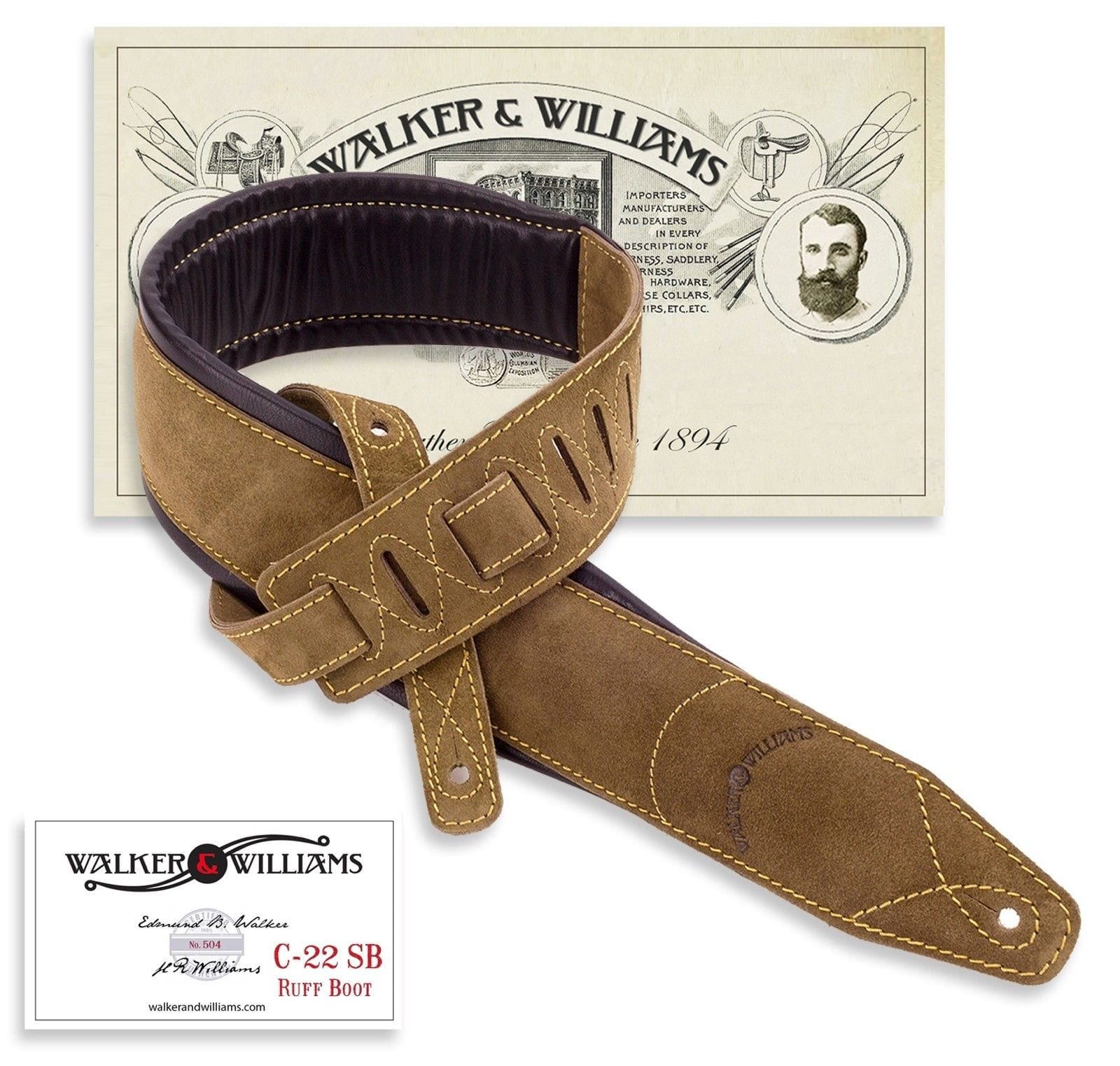 Walker /& Williams G-918 Natural Finish Black Leather Padded Guitar Strap