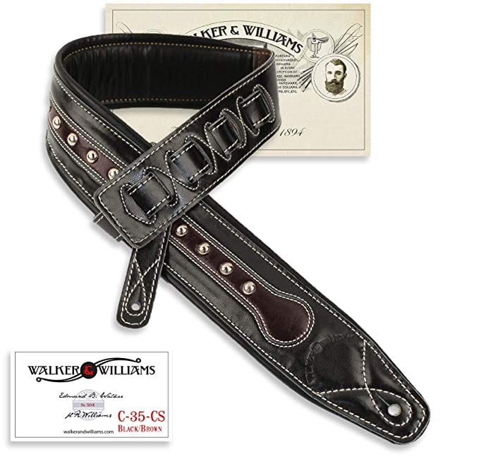 Walker /& Williams GE-106 Antique Walnut Tooled Padded Strap with Brass Conchos