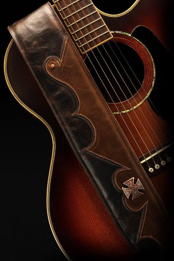 Einstellbar Nylon Durable Guitar Strap Ballade Gitarrengurt Mit Leder O8Y2